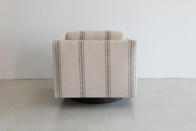 Contemporary Black Linen Striped Milo Baughman Style Chairs For Sale