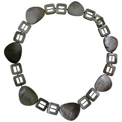 Black Lip Mother of Pearl 925 Sterling Silver Clasp Gemstone Necklace