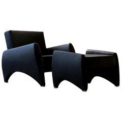Black Loft Armchair and Footrest