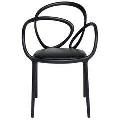 In Stock in Los Angeles, Black Loop Padded Armchair, Made in Italy