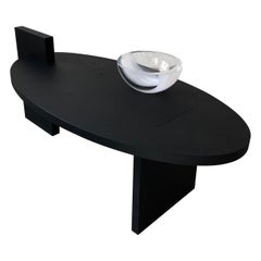 'Black Lotus' Oval Coffee Table with glass element  by Experimental