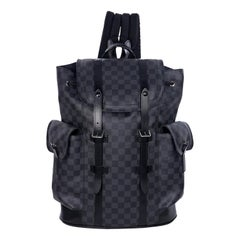 Black Louis Vuitton Damier Leather-Trimmed Backpack