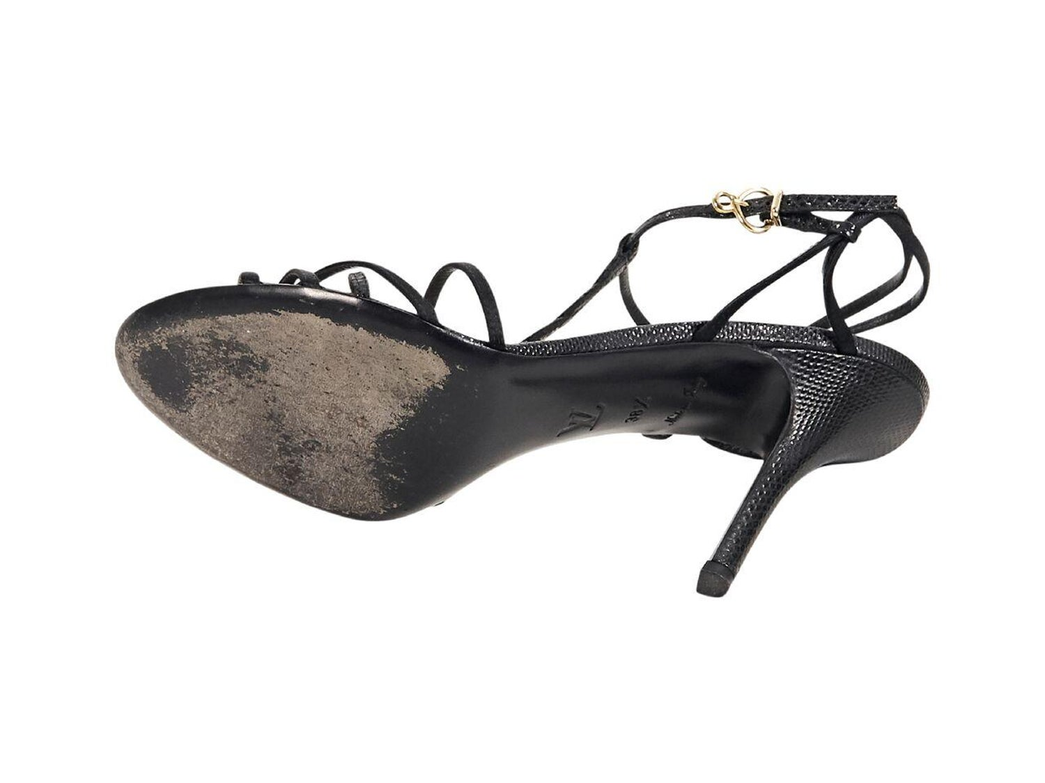 b1b0f5e492e2 Black Louis Vuitton Satin and Lizard Skin Sandals For Sale at 1stdibs
