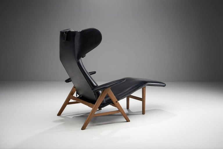 Danish Black Lounge Chair with Beech Frame by H.W. Klein, Denmark, 1960s For Sale