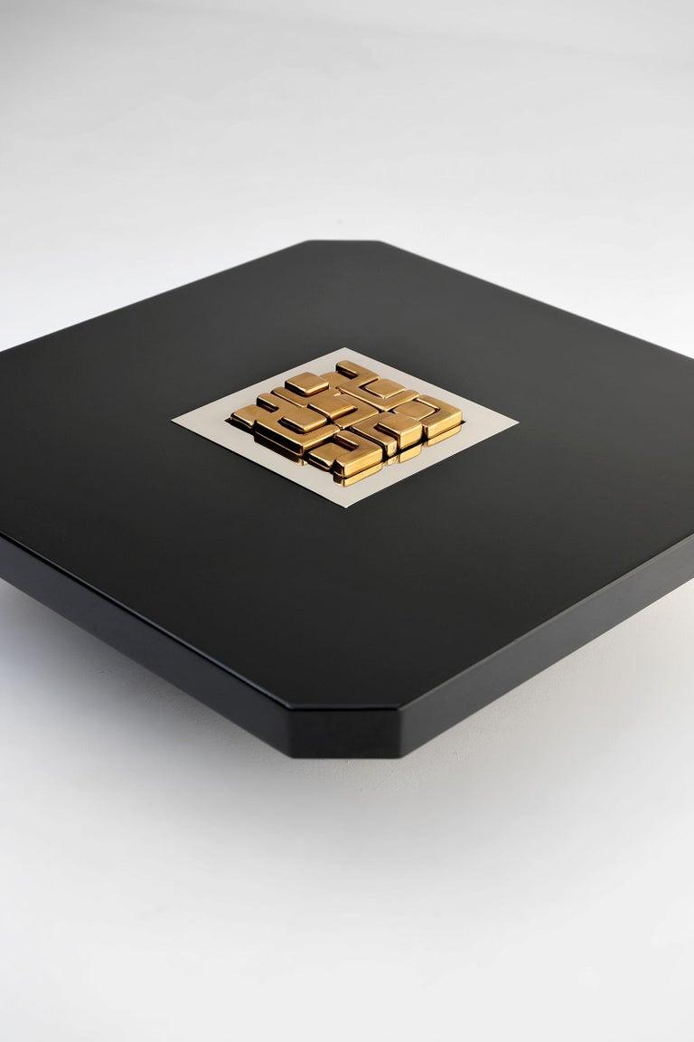 Hollywood Regency Black 'Lova Creation' Coffee Table For Sale
