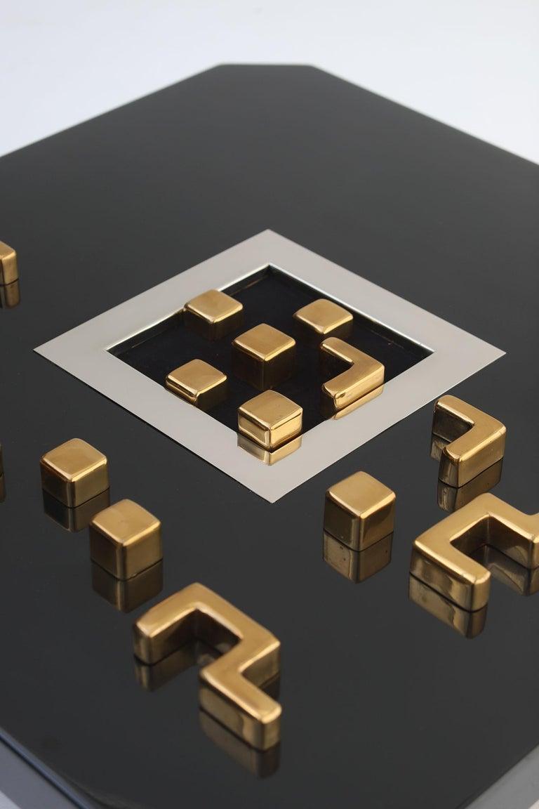 Brass Black 'Lova Creation' Coffee Table For Sale