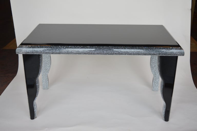 Black Lucite Coffee Table with Silver Glitter 2