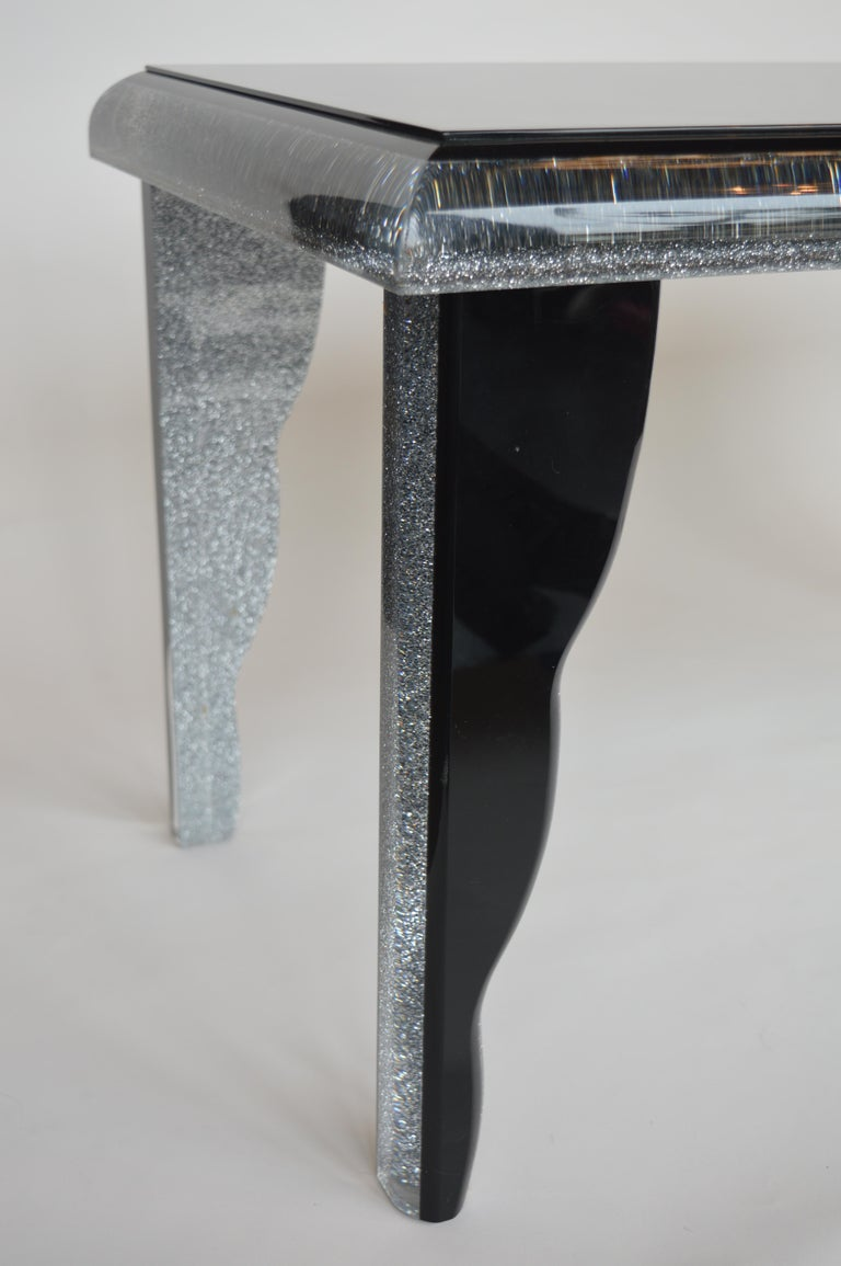Black Lucite Coffee Table with Silver Glitter 4