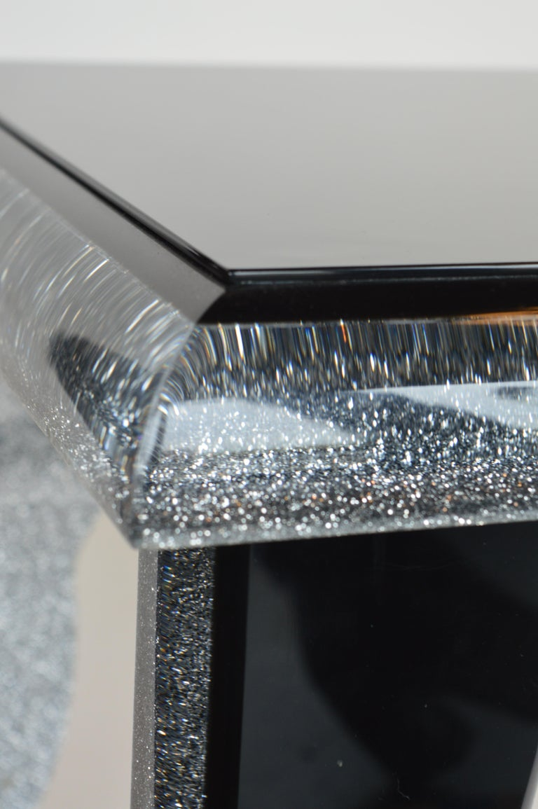 Black Lucite Coffee Table with Silver Glitter 6