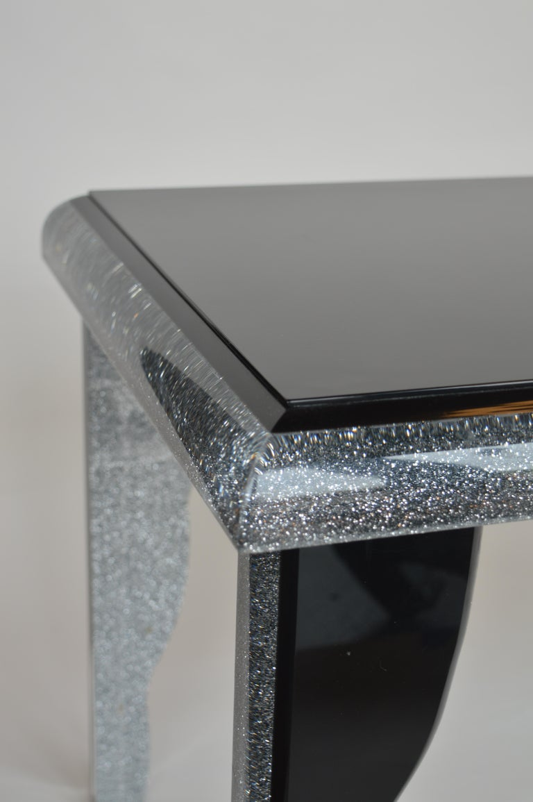 Black Lucite Coffee Table with Silver Glitter 7