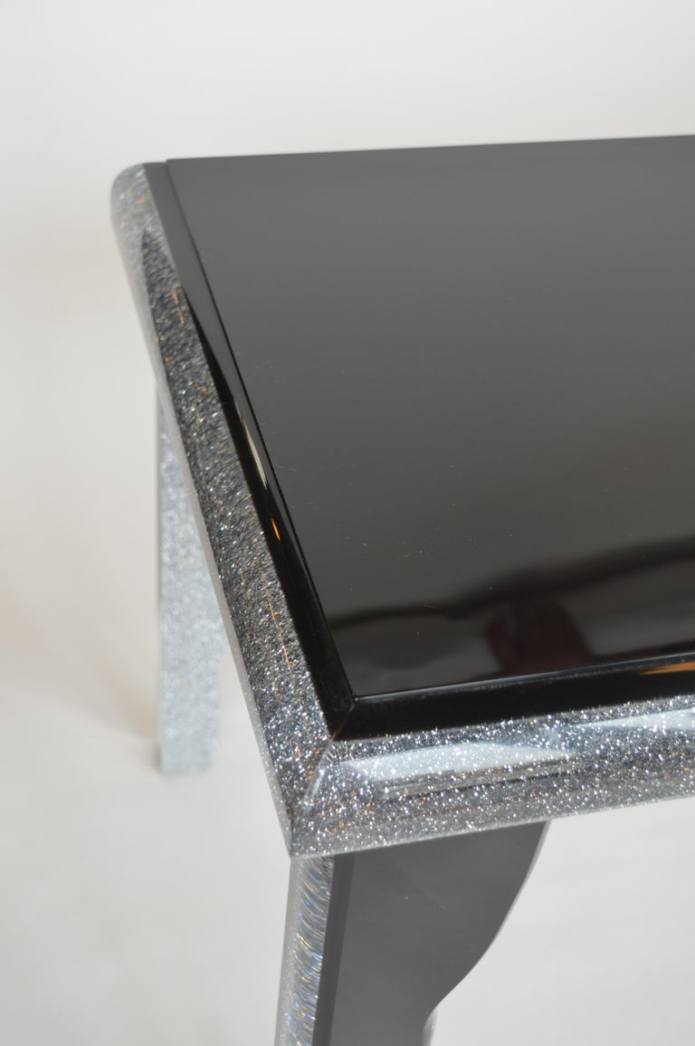 Black Lucite Coffee Table with Silver Glitter 8