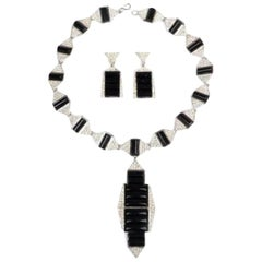 Black Lucite Rhinestone Art Deco Style Necklace and Earring Set by Kenneth Lane