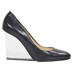 Black Maison Margiela Leather & Lucite Wedges