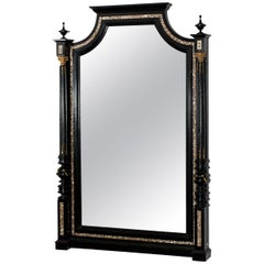 Black Makart Mirror with Mother of Pearl Inlays, Austria, circa 1880