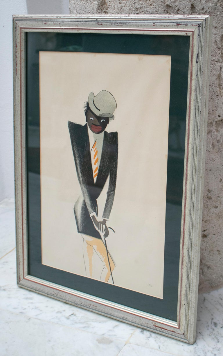 Black man pastel painting signed Paul Colin, 1925.  Dimensions with frame: 59.5 x 44 x 2.5cm.