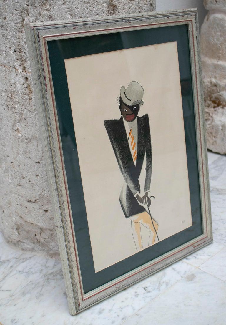 Art Deco Black Man Pastel Painting Signed Paul Colin, 1925 For Sale