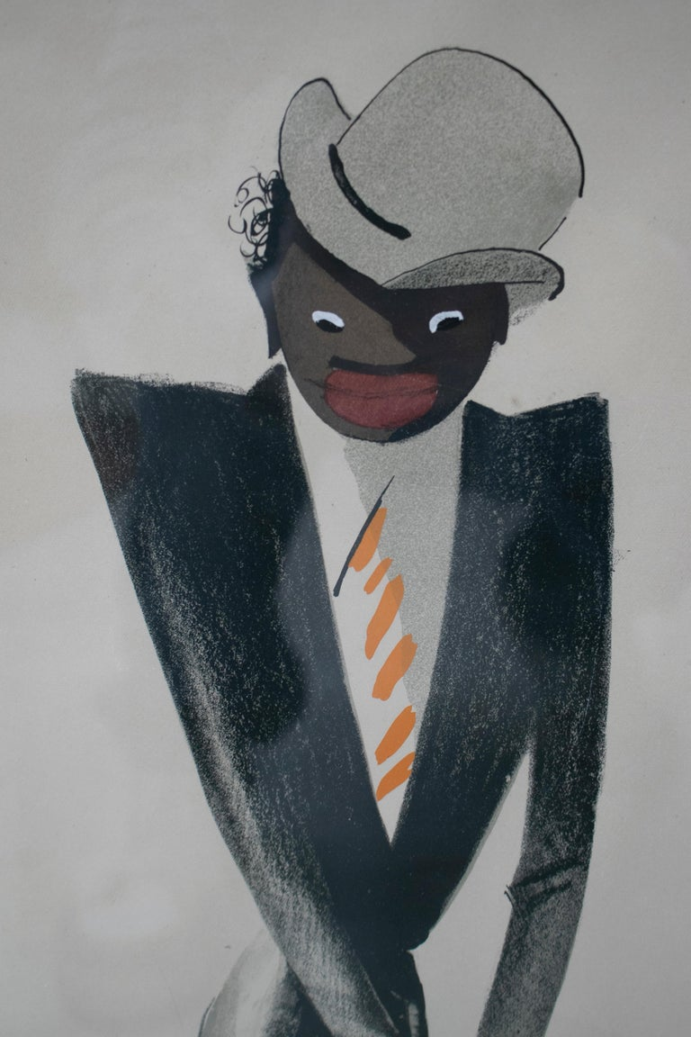 French Black Man Pastel Painting Signed Paul Colin, 1925 For Sale