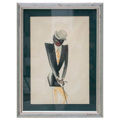 Black Man Pastel Painting Signed Paul Colin, 1925