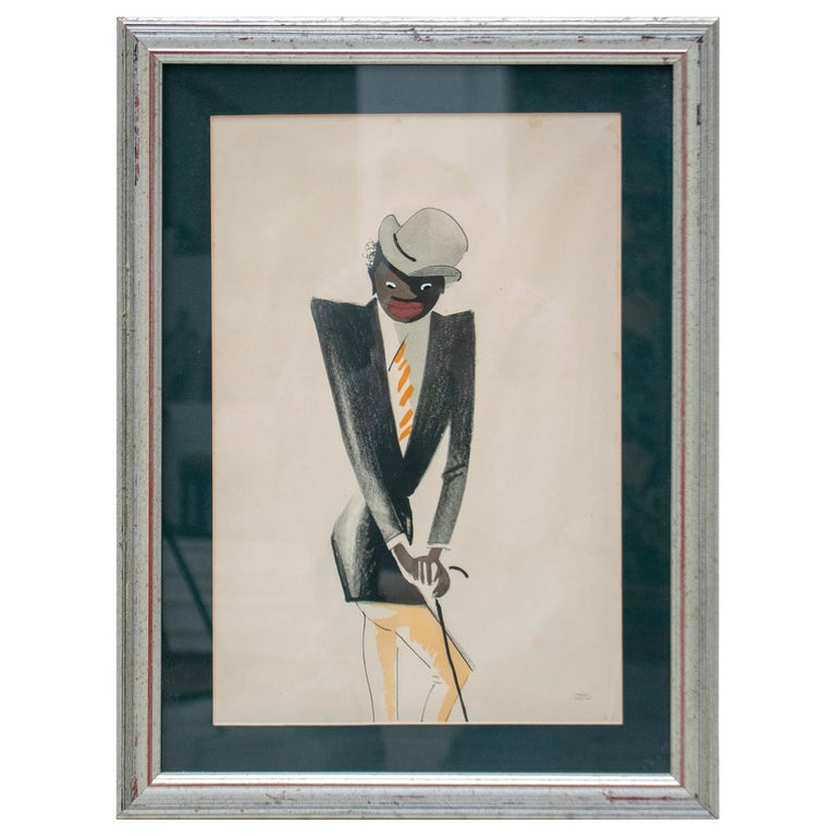 Black Man Pastel Painting Signed Paul Colin, 1925 For Sale