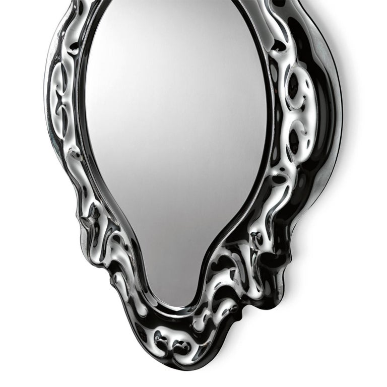 Italian Black Manor Mirror For Sale