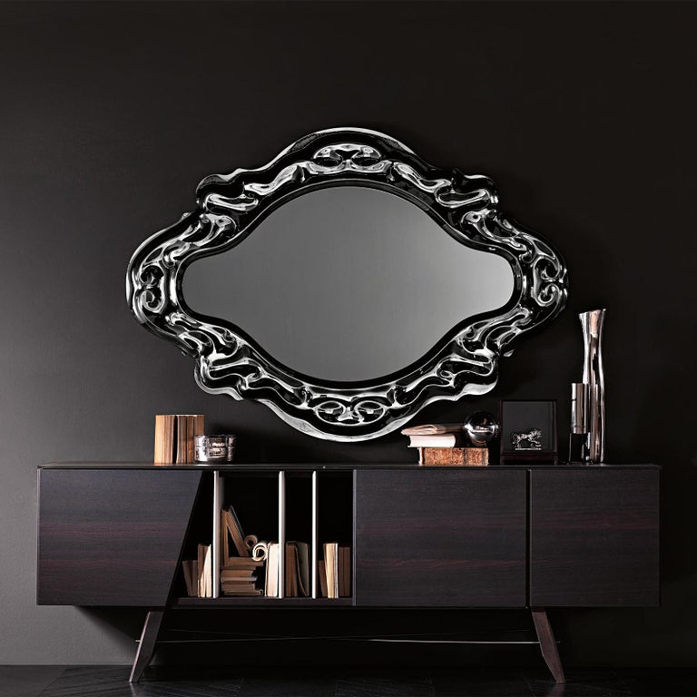 Glass Black Manor Mirror For Sale