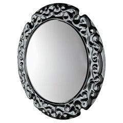 Black Manor Round Mirror