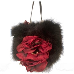 Black Marabou Feather Purse Claret Silk Flowers and Leather Trim Made in Italy