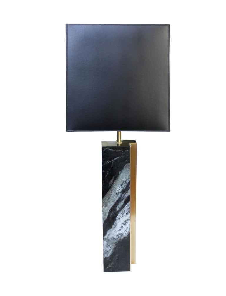 Modern Black Marble and Bronze Fluted Table Lamp For Sale