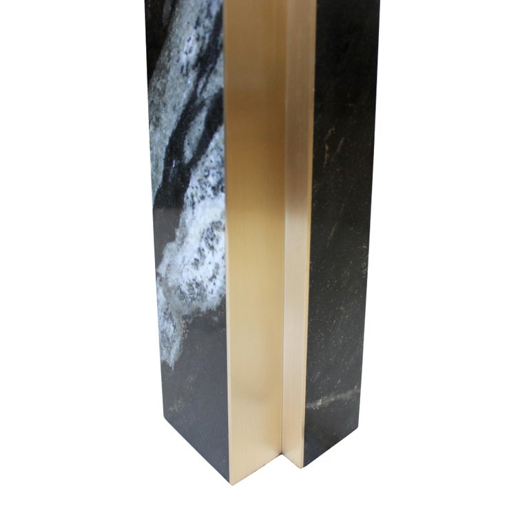 American Black Marble and Bronze Fluted Table Lamp For Sale