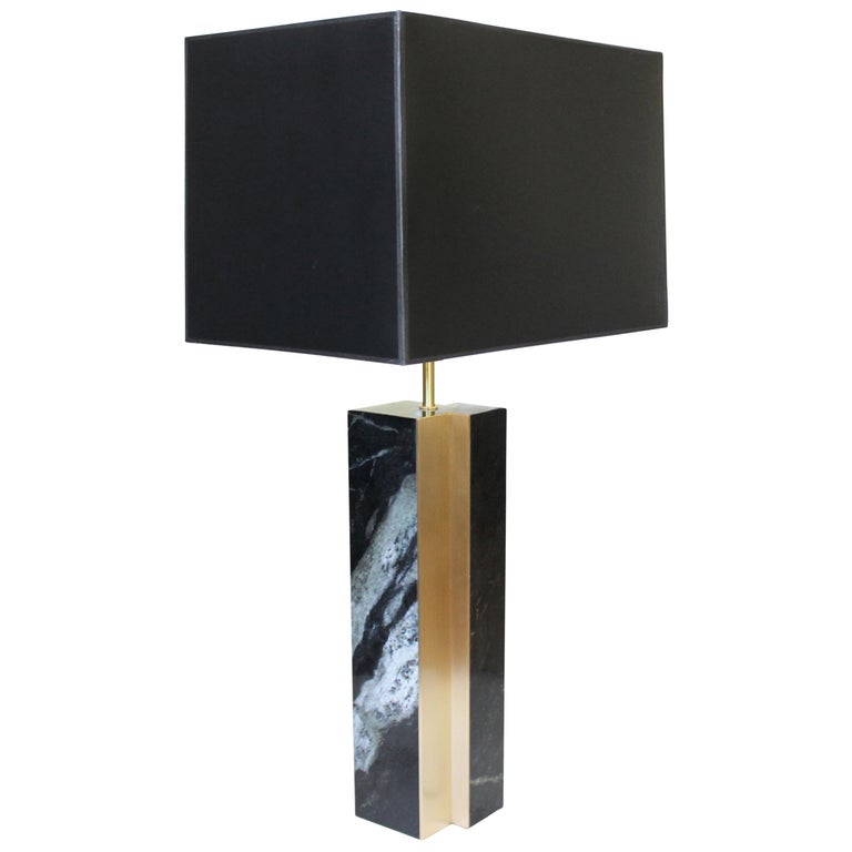 Black Marble and Bronze Fluted Table Lamp For Sale