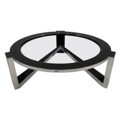 Black Marble and Chrome Coffee Table by Marquis Collection of Beverly Hills