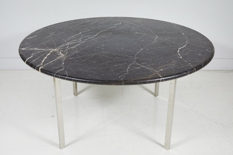 Black Marble and Chrome Round Dining Table In Excellent Condition For Sale In Los Angeles, CA