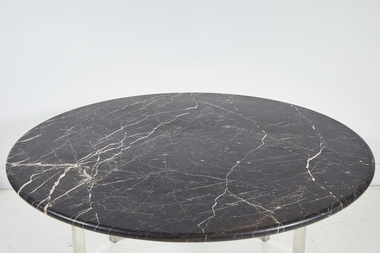 Black Marble and Chrome Round Dining Table For Sale 1