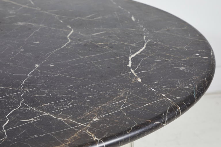 Black Marble and Chrome Round Dining Table For Sale 3