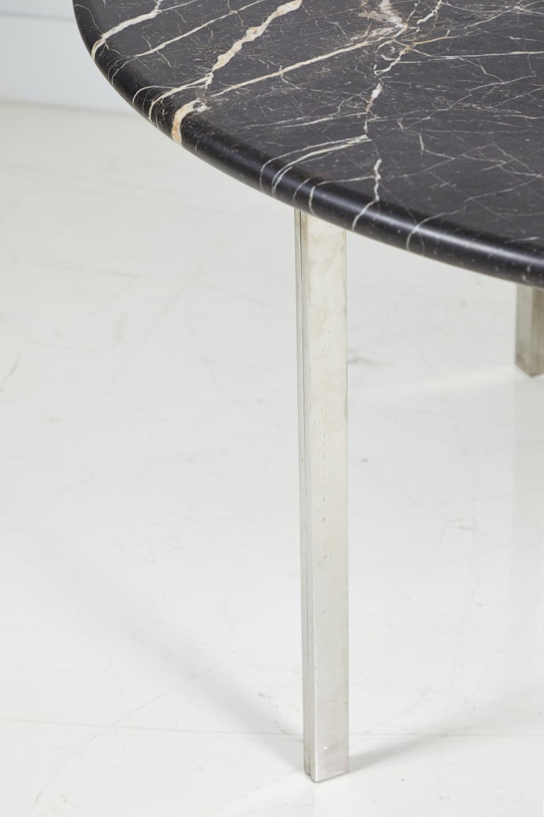 Black Marble and Chrome Round Dining Table For Sale 4
