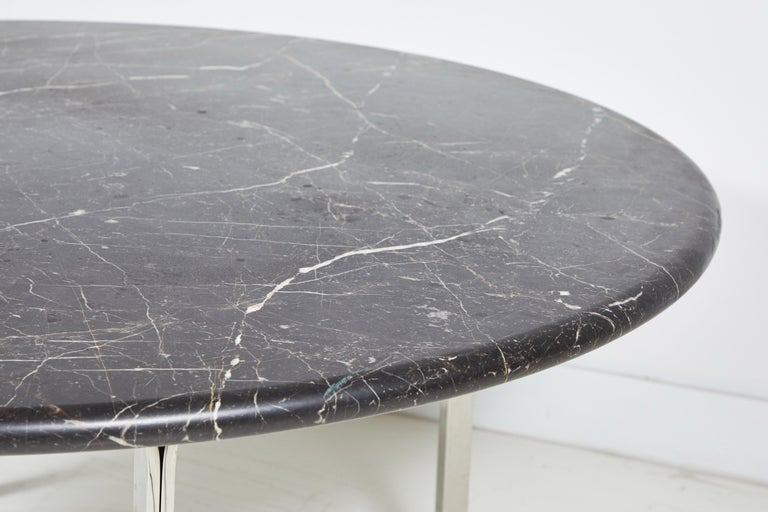 Black Marble and Chrome Round Dining Table For Sale 5