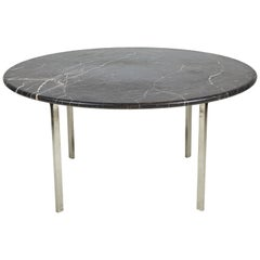 Black Marble and Chrome Round Dining Table