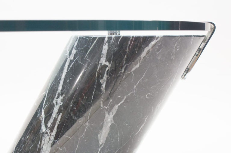 Black Marble and Glass Coffee Table Model K1000 by Team Form for Ronald Schmitt For Sale 7