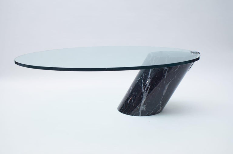 Mid-Century Modern Black Marble and Glass Coffee Table Model K1000 by Team Form for Ronald Schmitt For Sale