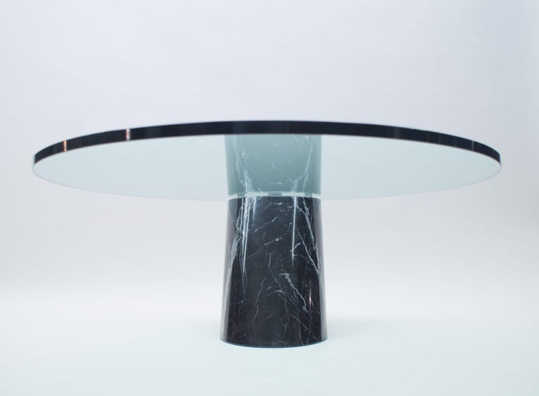 Metal Black Marble and Glass Coffee Table Model K1000 by Team Form for Ronald Schmitt For Sale