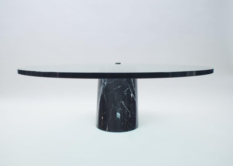 Black Marble and Glass Coffee Table Model K1000 by Team Form for Ronald Schmitt For Sale 1