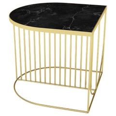 Black Marble and Gold Steel Contemporary Side Table