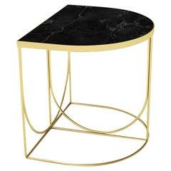 Black Marble and Gold Steel Minimalist Side Table