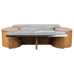 Black Marble and Oak Prospect Coffee Table by Lawson-Fenning