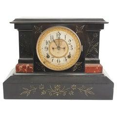 Black Marble Ansonian Mantel / Desk Clock