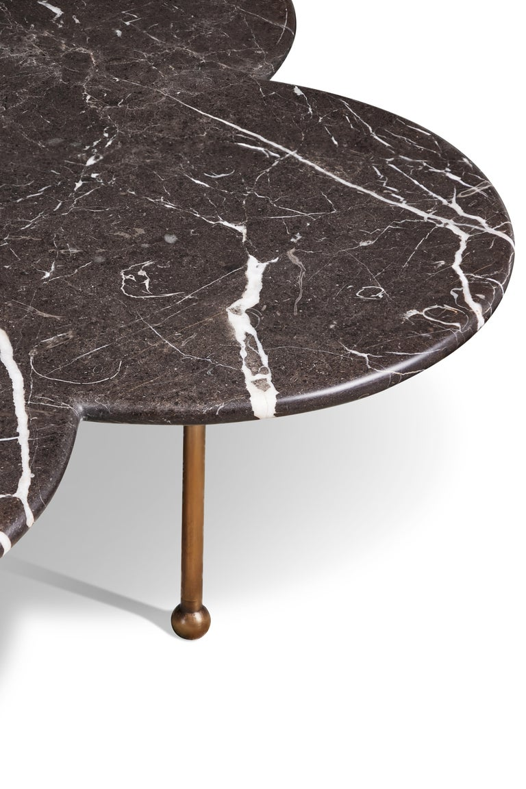 American Marble & Hand-Aged Brass Archer Coffee Table by August Abode For Sale