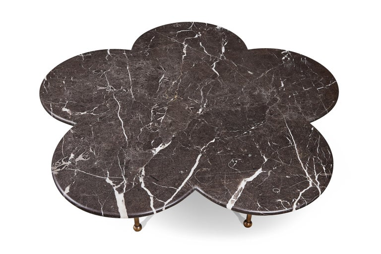 Burnished Marble & Hand-Aged Brass Archer Coffee Table by August Abode For Sale