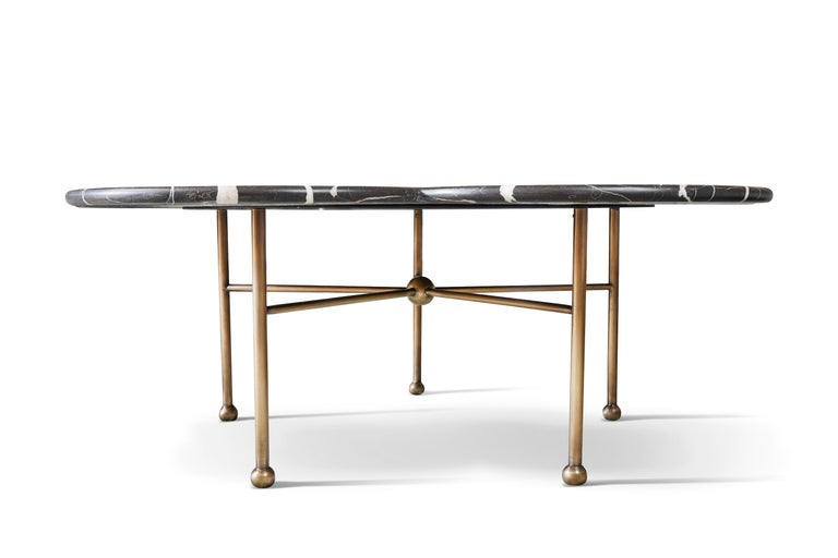 Marble & Hand-Aged Brass Archer Coffee Table by August Abode In New Condition For Sale In Beverly Hills, CA