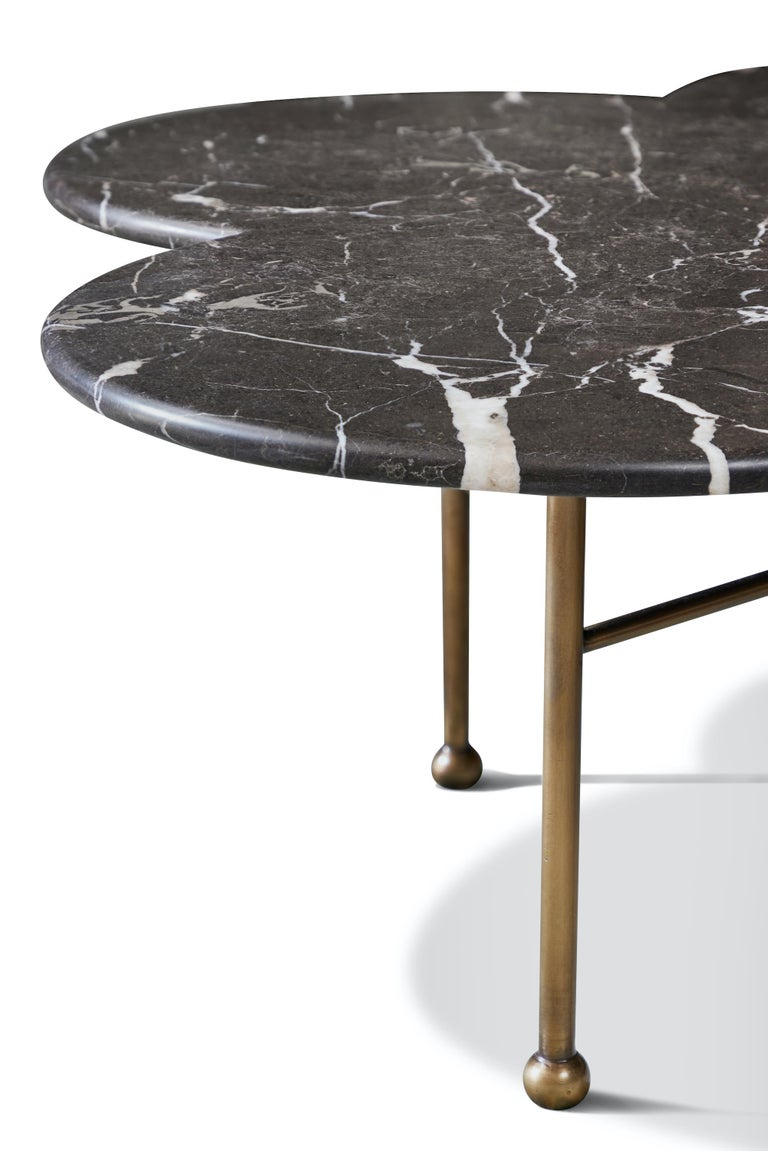 Contemporary Marble & Hand-Aged Brass Archer Coffee Table by August Abode For Sale