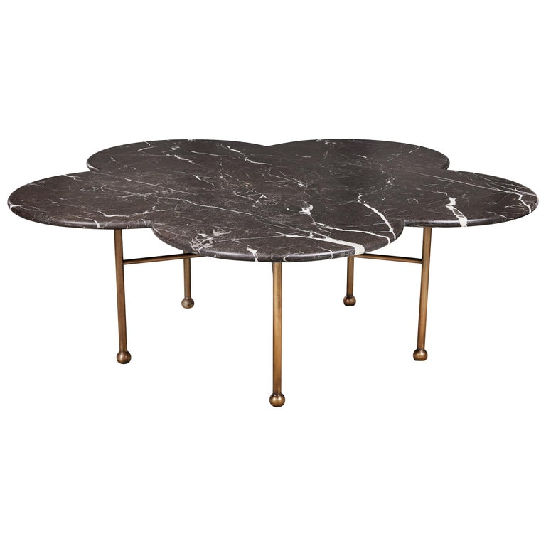 Marble & Hand-Aged Brass Archer Coffee Table by August Abode For Sale